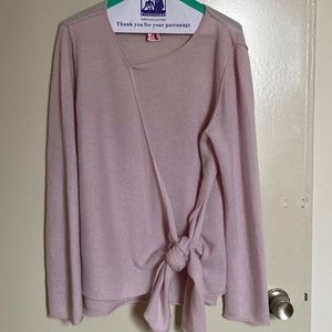 PLY CASHMERE Tie front Sweater - Pink
